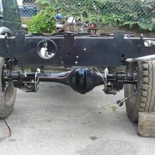 The replacement land rover galvanised chassis is now on its axles