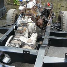 The land rover 2.25 petrol engine is now in the chassis