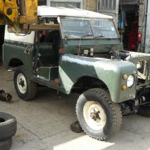 The land rover series 2a is being prepared for restoration
