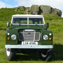 The finished land rover series 2 is now completed and is seen here on a lovely sunny day in Ilkley with the Cow and Calf rocks in the background