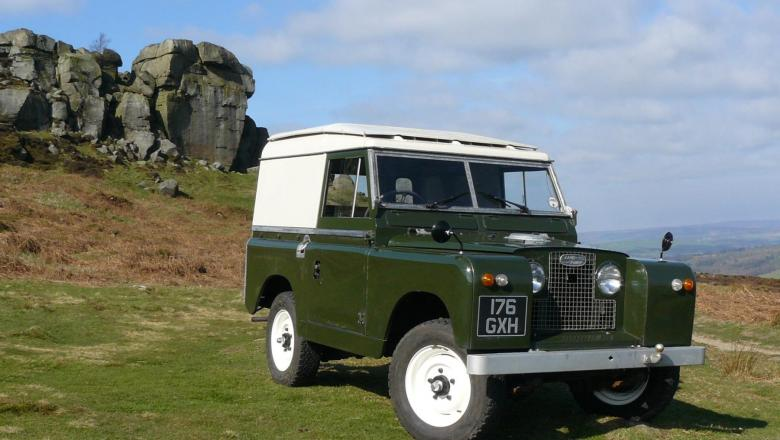 Land Rover series 2a is on Ilkley moors near the cow and calf rocks