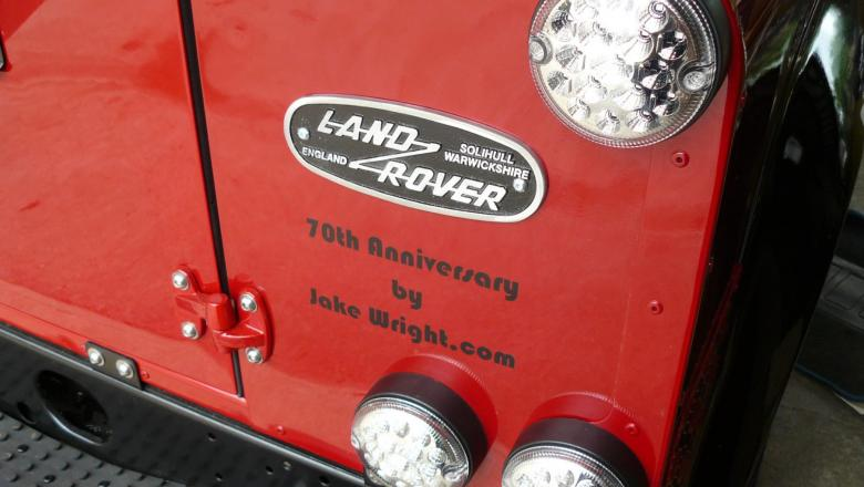 tHE LAND ROVER 70TY ANNIVERSARY EDITION AT JAKE WRIGHT'S NOW HAS THE BADGES ON THE BACK