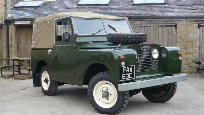 A land Rover series 2a for sale is stood outside the showroom in the yard at Jake Wright Land rover