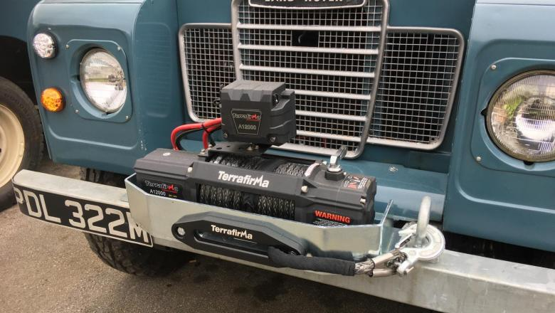 A front mounted electric winch can be fitted to the series classic land rover