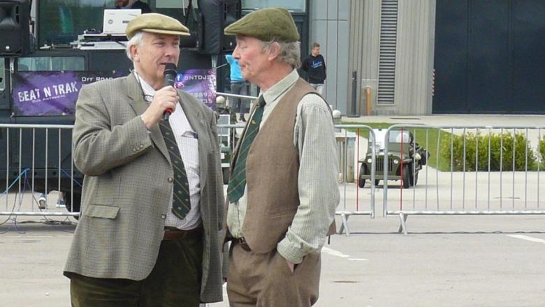 JOHN WRIGHT IS BEING INTERVIEWED BY RICHARD BEDDALL  AT THE GAYDON LEND ROVER SHOW