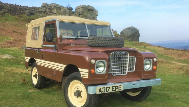 Land Rover Series 3 at the Cow and Calf Rocks on Ilkley Moor