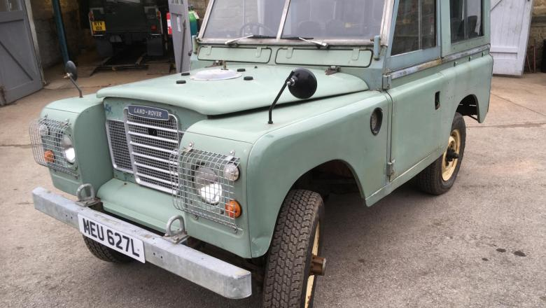 A SERIES 3 LAND ROVER CLASSIC OUTSIDE JAKE WRIGHT'S WORKSHOP