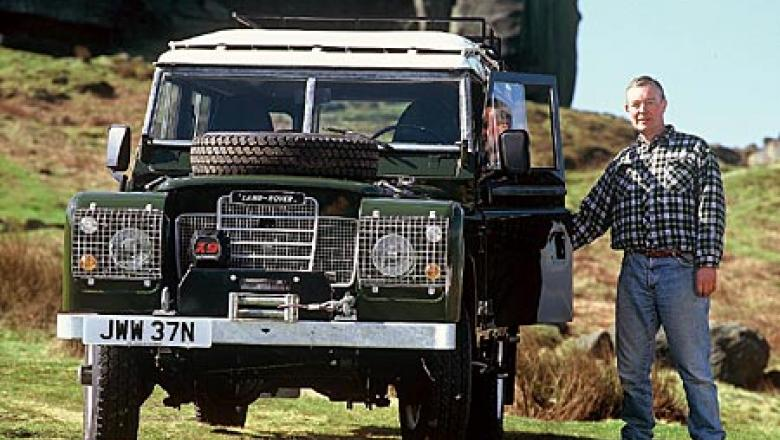 Land Rover 109 with John Wright on Ilkley moors near the Cow and Calf rocks