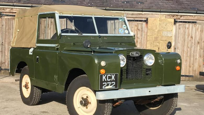 A land rover series 2 is seen standing outside the showroom at jake wright land Rover