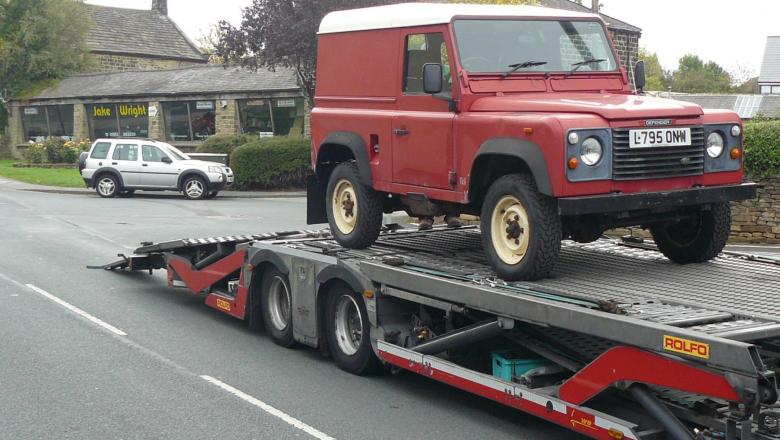Here is a picture of a land rover on the transporter ready to go to Southampton docks ready for the journey to USA