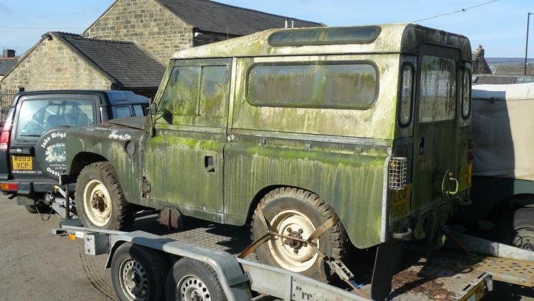 a LAND ROVER SERIES 2A before restoration  after being removed from a garden where it had stood for 20 years