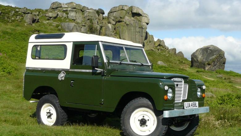 "Series 3 land rover 88"" on Ilkley Moors with the famous Cow and Calf Rocks"