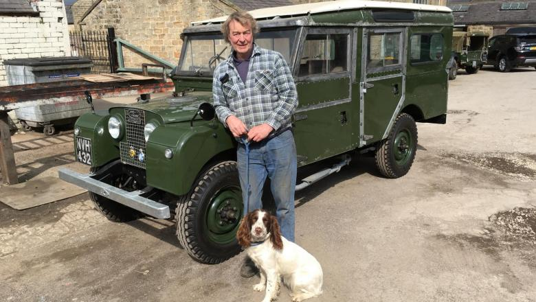LAND ROVER SERIES 1 STATION WAGON  WITH JOHN AND DOG AFTER TEST RUN AT JAKE WRIGHT'S