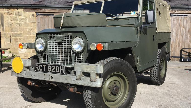 Land Rover Series 2a is at Jake Wright Land Rover outside the showroom .