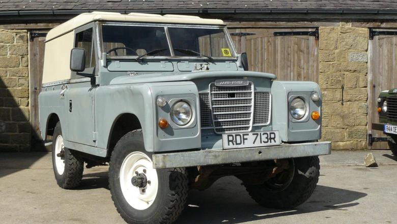 LAND ROVER SERIES 3 DIESEL WITH HARDTOP OUTSIDE JAKE WRIGHT'S WORKSHOP
