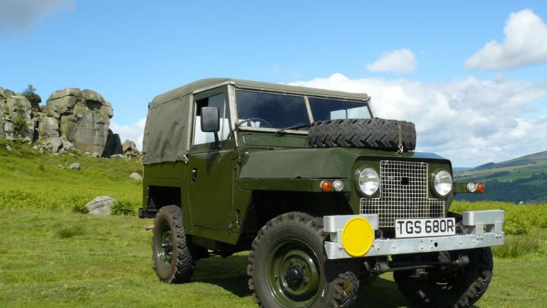 A VERY NICE SERIES 2A LIGHT WEIGHT LAND ROVER IS SEEN AT THE COW AND CALF ROCKS ,ILKLEY