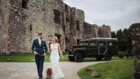 A 107 Land rover is seen at Barden Towers on the occasion of Helene Wright's wedding
