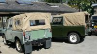 Two land rover series 2a's have just had the hard tops removed and soft tops fitted