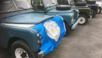 Yorkshire flag is on the front of a land rover series 3 in our yard celebrating 2021